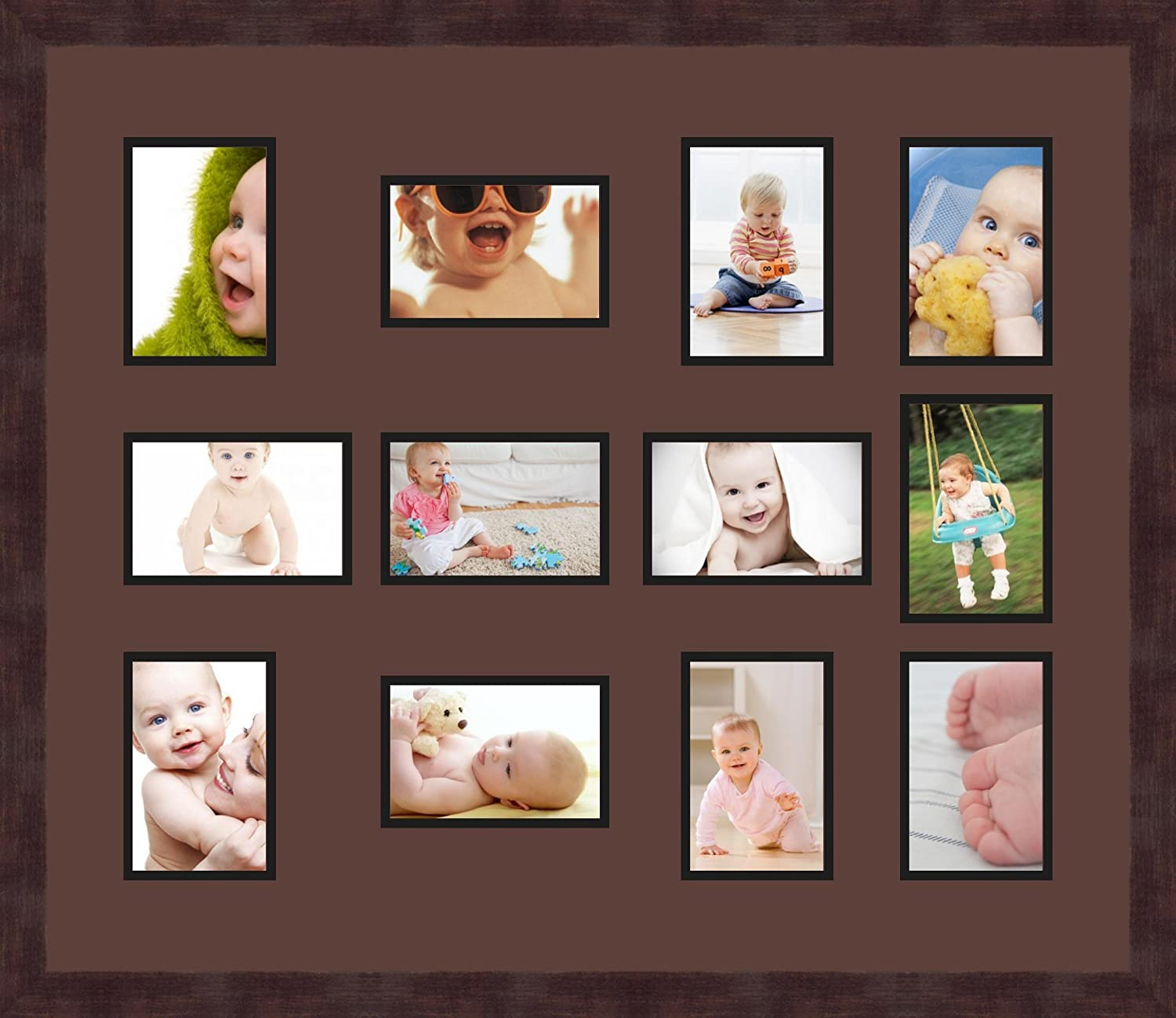 Art to Frames Double-Multimat-463-736//89-FRBW26061 Collage Frame Photo Mat Double Mat with 12-4x6 Openings and Espresso Frame