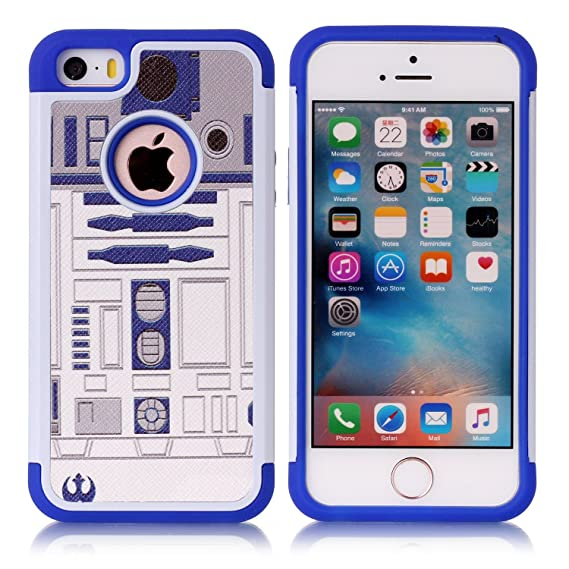 Iphone 5S Case, Iphone SE Case, R2D2 Astromech Droid Robot Pattern  Shock-Absorption Hard PC and Inner Silicone Hybrid Dual Layer Armor  Defender