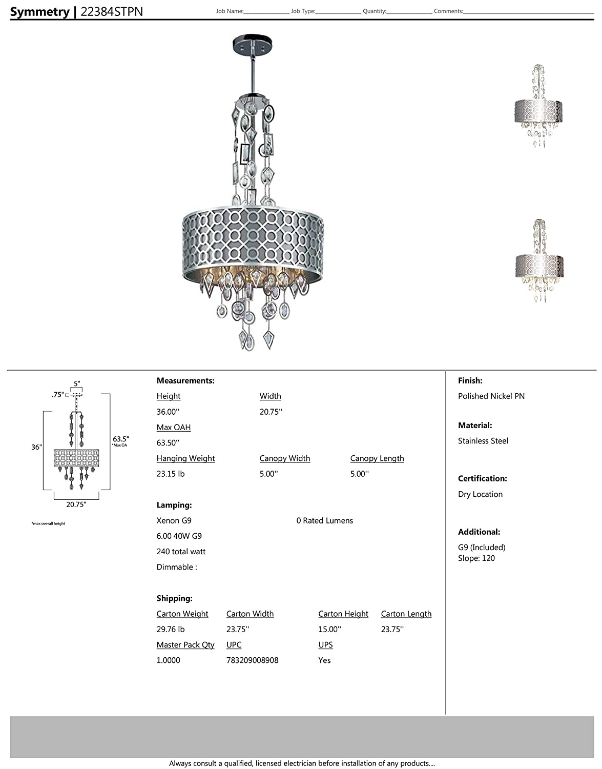 100W Max. Standard Dimmable Polished Nickel Finish Wet Safety Rating Glass G9 Xenon Bulb Maxim 22384STPN Symmetry 6-Light Pendant 1150 Rated Lumens Maxim Lighting Glass Shade Material