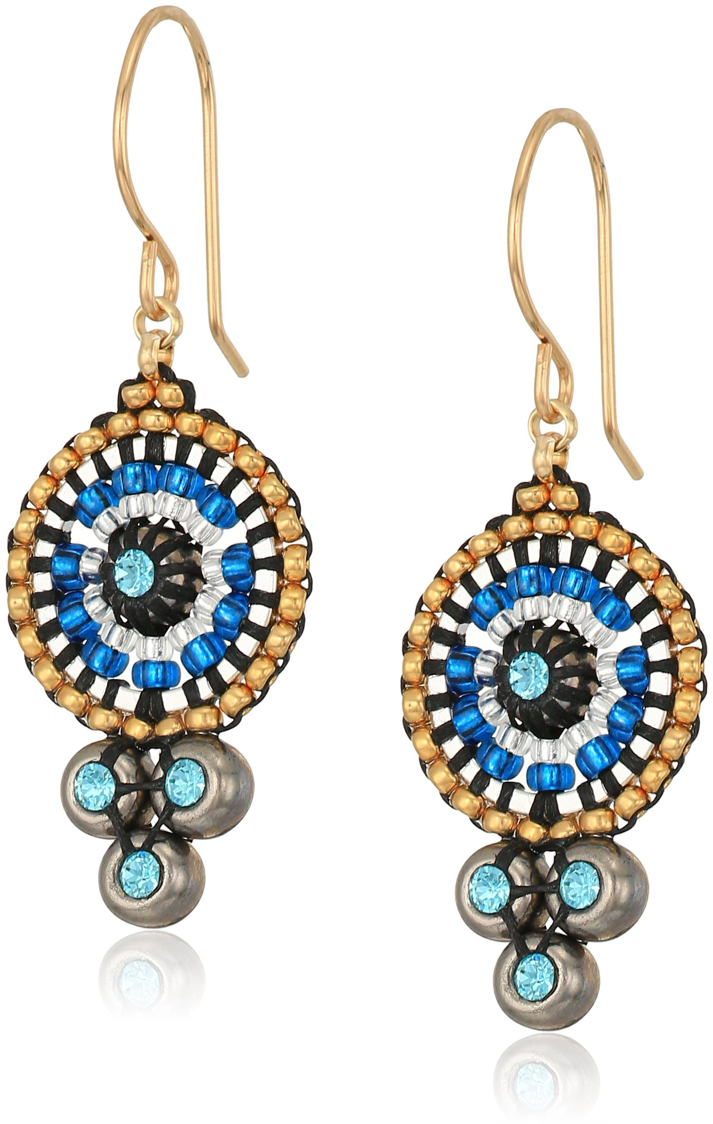 Miguel Ases Triple Swarovski Suspended Circle Drop Earrings, Egyptian Blue