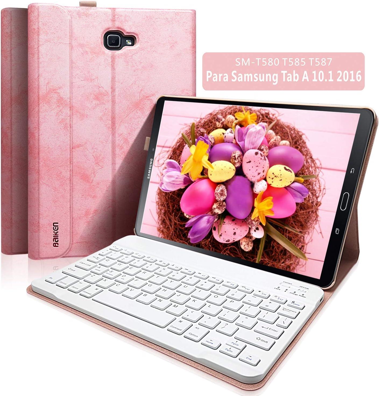 """BAIBAO Funda Teclado A Tablet 10.1 2016 para Samsung Tab A 10.1"""" SM-T580 / T585 / T587, Cubierta Delgada con Teclado Español Inalámbrico Bluetooth Desmontable Magnéticamente (Rosa)"""