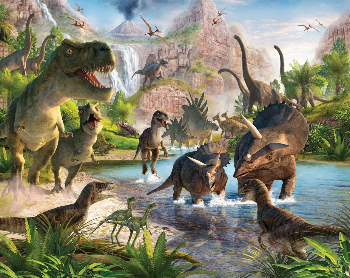 243 cm x 304 cm Mural la Tierra de los Dinosaurios Walltastic
