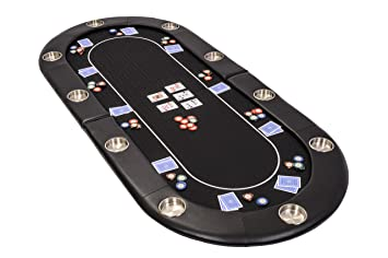 Riverboat Folding Poker Table Top In Black Speed Cloth And Case   200cm