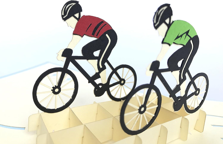 Tarjeta de felicitación 3D para equipo de ciclismo, bicicleta ...