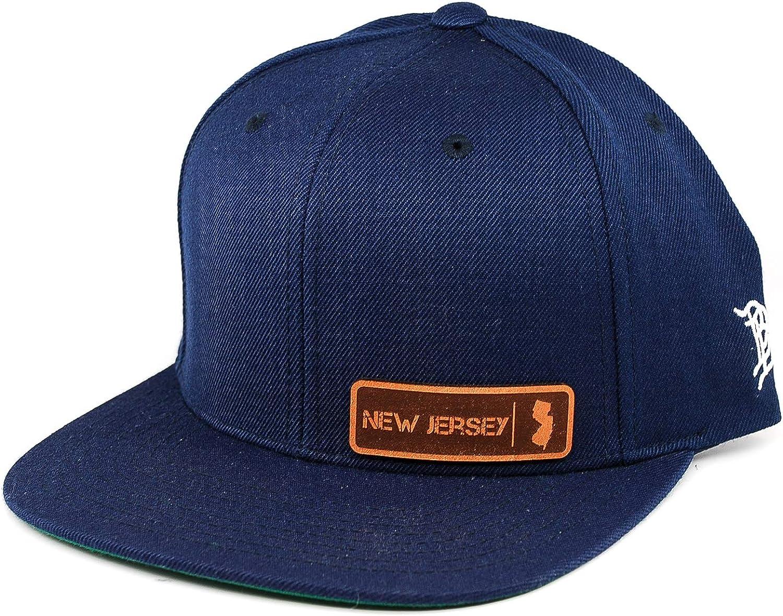 Branded Bills /'New Jersey Native Leather Patch Snapback Hat OSFA//Navy