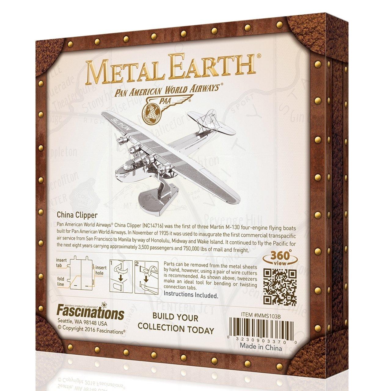 Fascinations Metal Earth Pan American China Clipper Airplane 3D Laser Cut Metal Model Boxed Kit