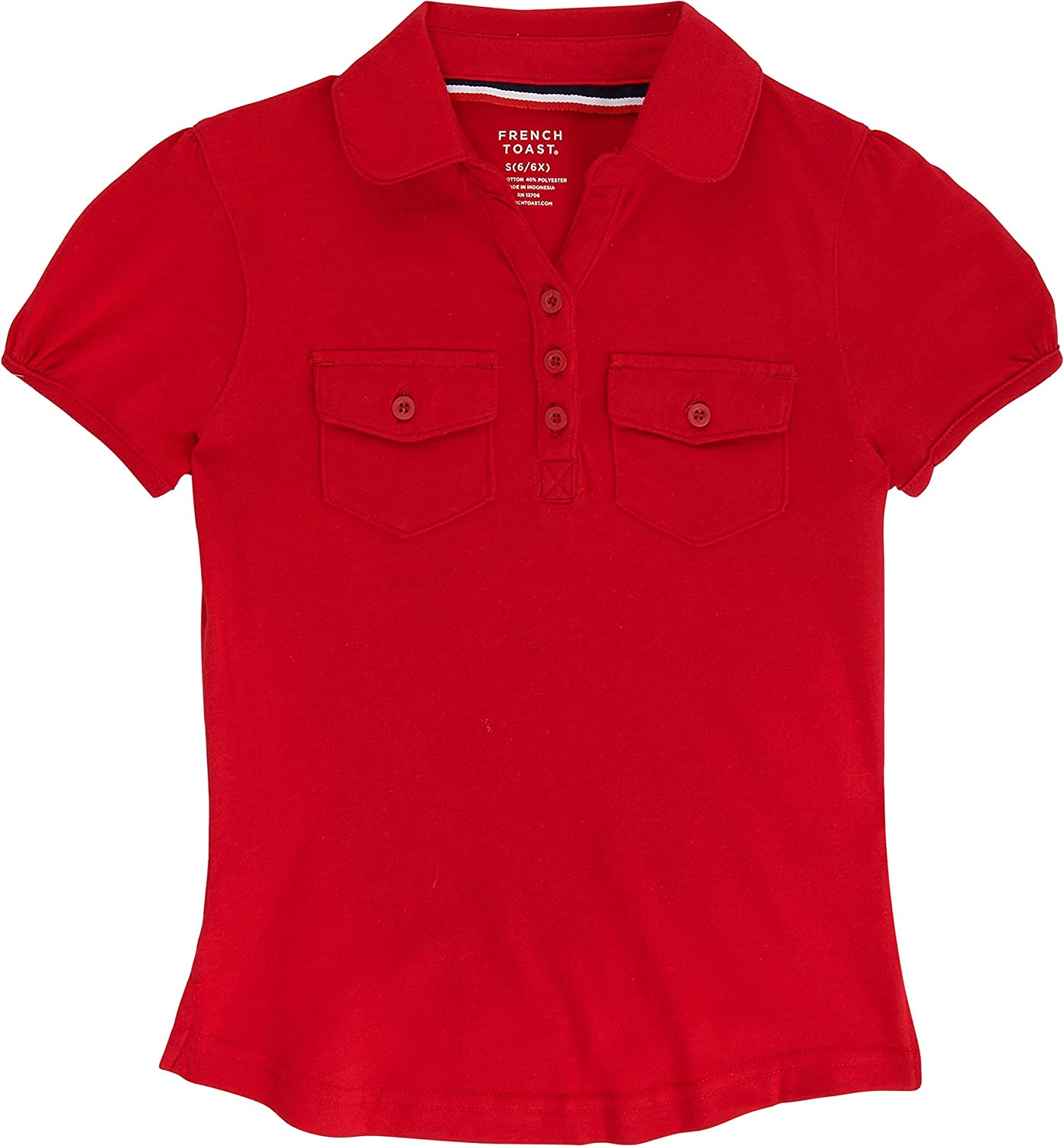 French Toast School Uniform Girls Short Sleeve Double Pocket Polo Shirt