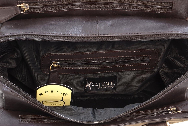 Sac Port/é Main//Sac /à Main//Sac port/é /épaule Femme Cuir V/éritable BELLA Catwalk Collection Handbags