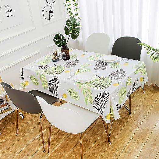 QUANHAO Mantel Impermeable Rectangular PVC Impermeable y Resistente al Aceite Mantel de plástico Mesa de Comedor Comedor Cocina Multicolor Caucho Resistente a la Suciedad (140x200cm, Hojas): Amazon.es: Jardín