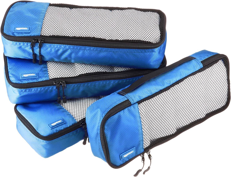 AmazonBasics 4 Piece Packing Travel Organizer Cubes Set - Slim, Blue