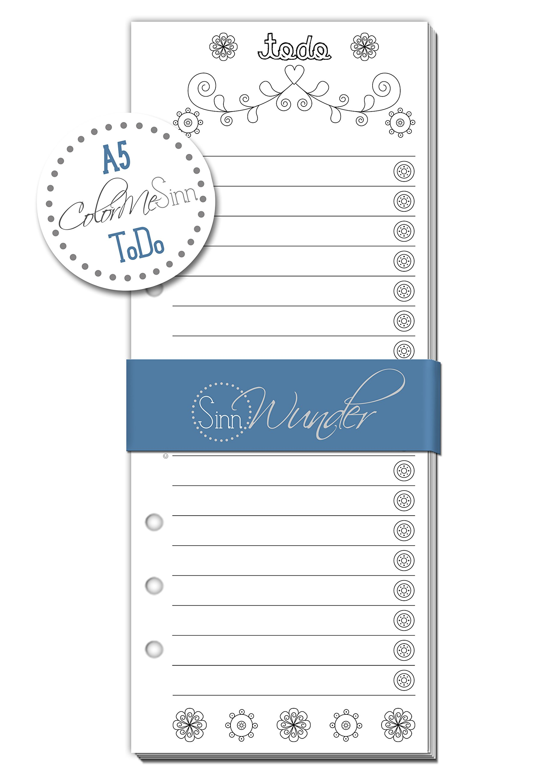 SinnWunder ToDo-Lists, Calendar Refills/Inserts for Ring Bound Planners, Size A5, Different Designs available (ColorMeSinn)