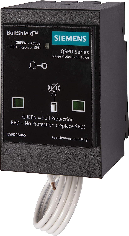 Siemens QSPD2A065P Boltshield 2-Pole 120/240V Plug-In Surge Protection Device, Black
