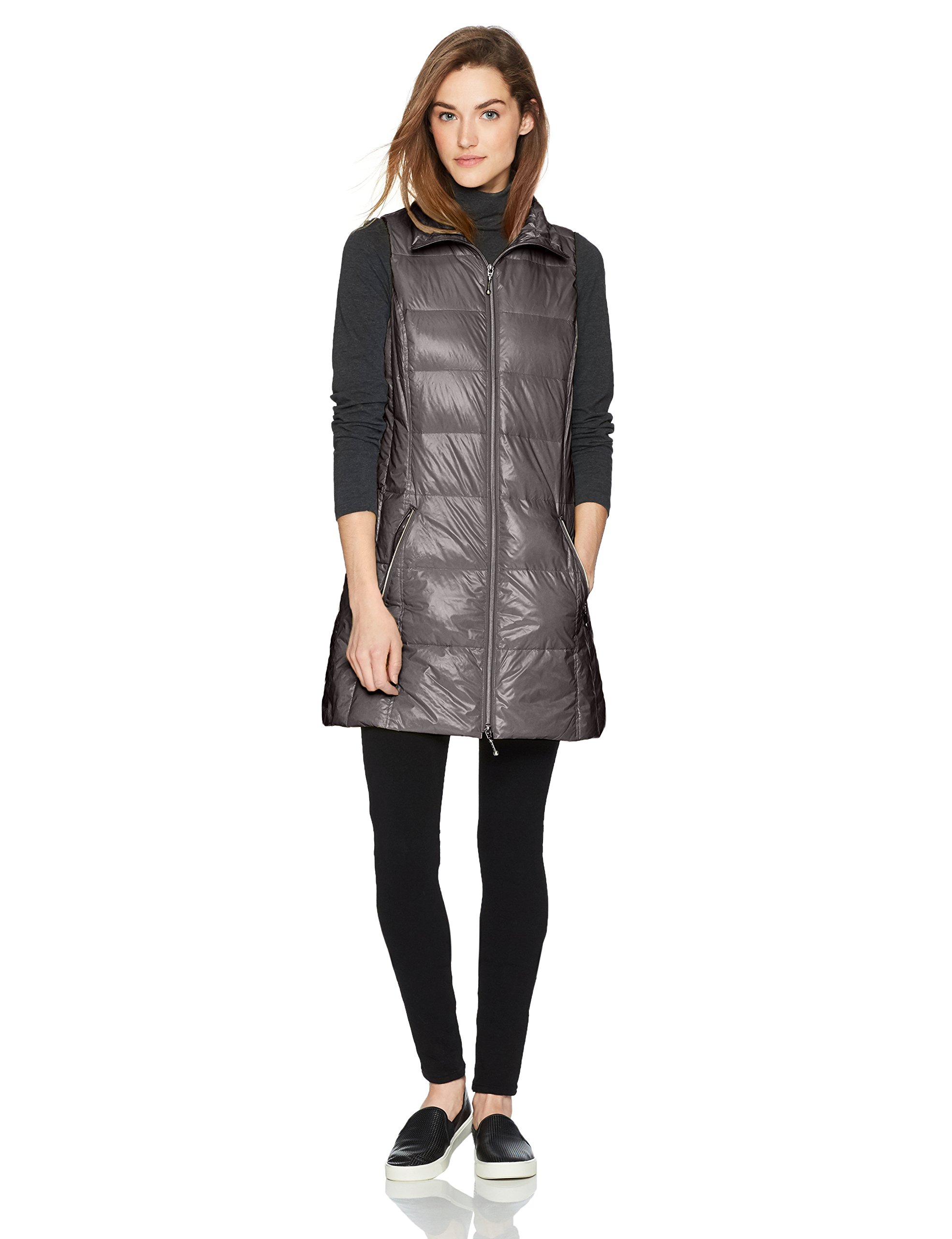 Coatology Women's Classic Long Down Vest, Charcoal, M by Coatology