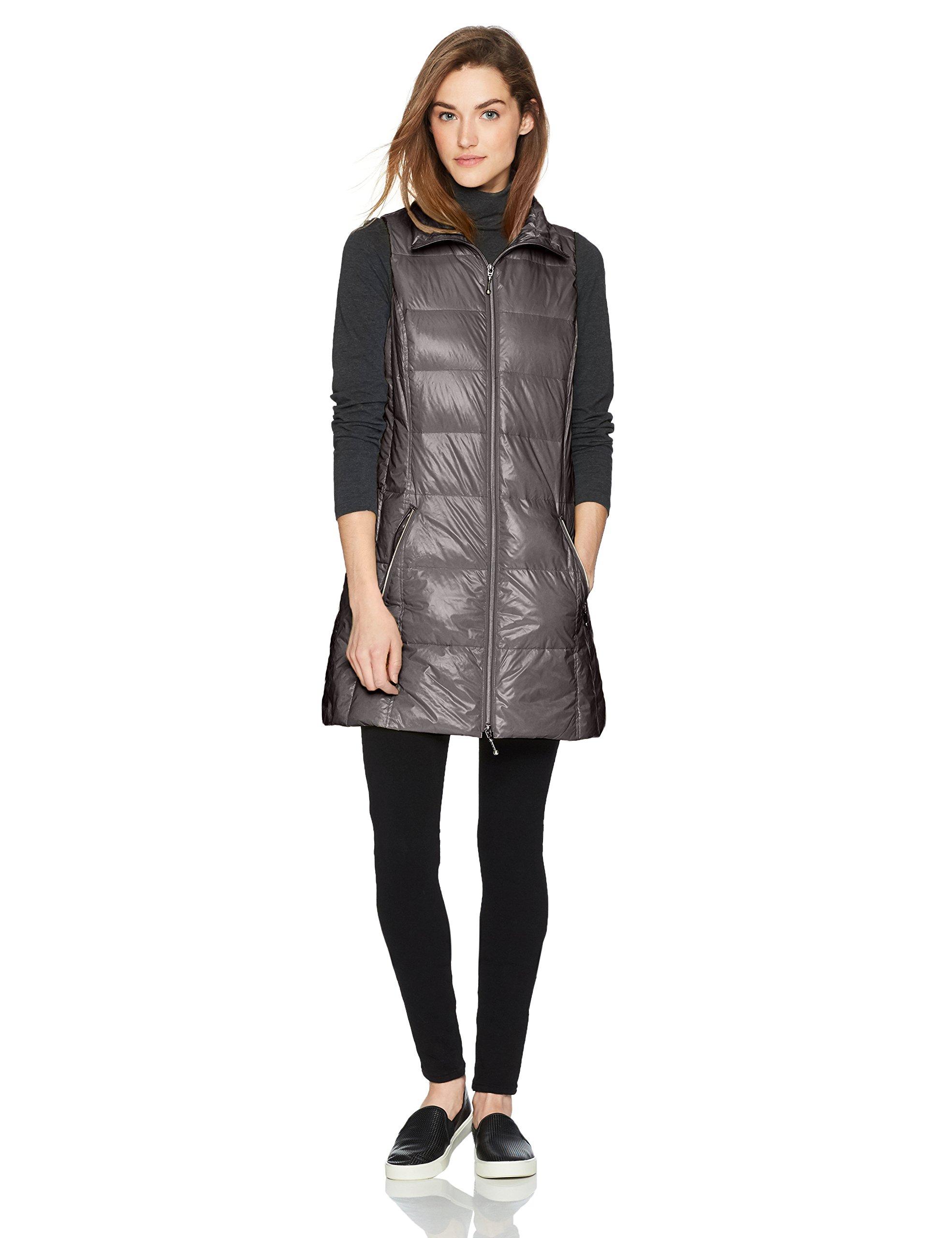 Coatology Women's Classic Long Down Vest, Charcoal, XS by Coatology