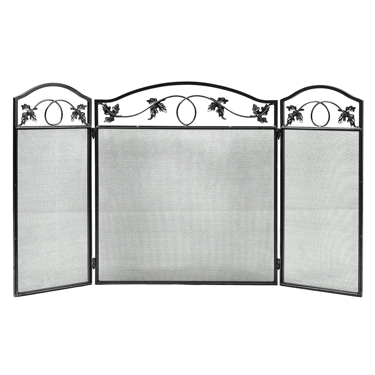 Folding steel fireplace screen doors 3 panel heavy duty home furni decor fire new This elegant fireplace screen is giving a feeling of welcoming home.For safe environment for your child, dog and cat.