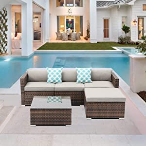 SUNBURY 5-Piece Outdoor Sectional Interwoven Wicker Sofa Patio Furniture Set w 2 Blue White Plaid Pillows, Tempered Glass Coffee Table, Waterproof Cover for Backyard