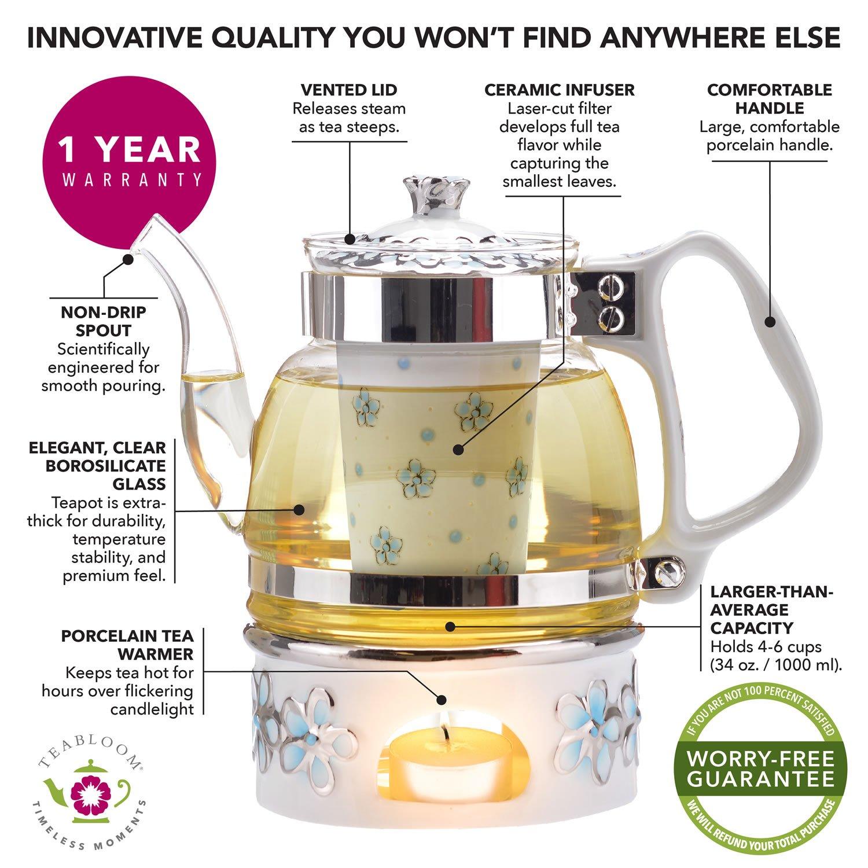 Teabloom Princess of Monaco Teapot & Blooming Tea Gift Set (6 Pieces) - Borosilicate Glass Teapot (34oz/1000ml), Porcelain Lid, Teapot Warmer, Porcelain Tea Infuser + 2 Berry Flowering Teas by Teabloom (Image #4)