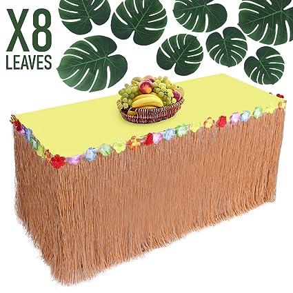 Amazon partyio hawaiian party decorations luau grass table partyio hawaiian party decorations luau grass table skirt raffia table skirting with colorful flowers watchthetrailerfo