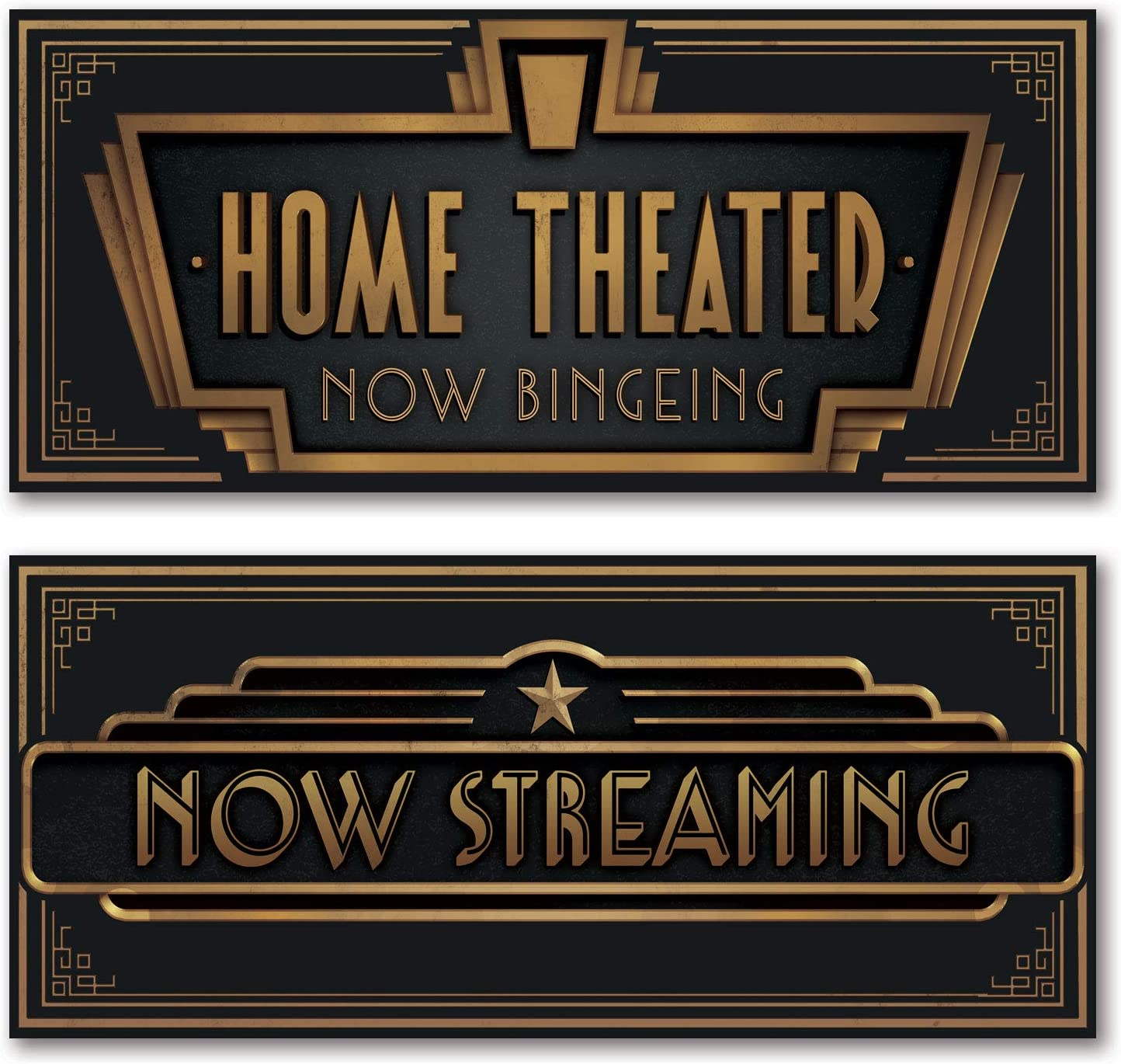 """Movie Night! Classic Old-Fashioned Cinema """"Now Streaming"""" and """"Home Theater: Now Bingeing"""" Set; 2-18x6"""" UNFRAMED Paper Posters"""
