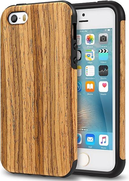 TENDLIN Coque iPhone Se Bois et Souple TPU Silicone Hybride Bonne Protection Etui pour iPhone Se 5S 5 (Bois de Teck)