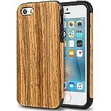 TENDLIN Cover iPhone SE Legno Ibrida Silicone TPU Flessibile Custodia Antiurto per iPhone SE 5S 5 (in Legno di Teak)
