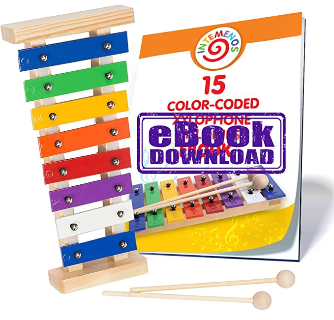 Mini Xylophone For Kids 8 Note E Book 15 Color Coded Songs Just