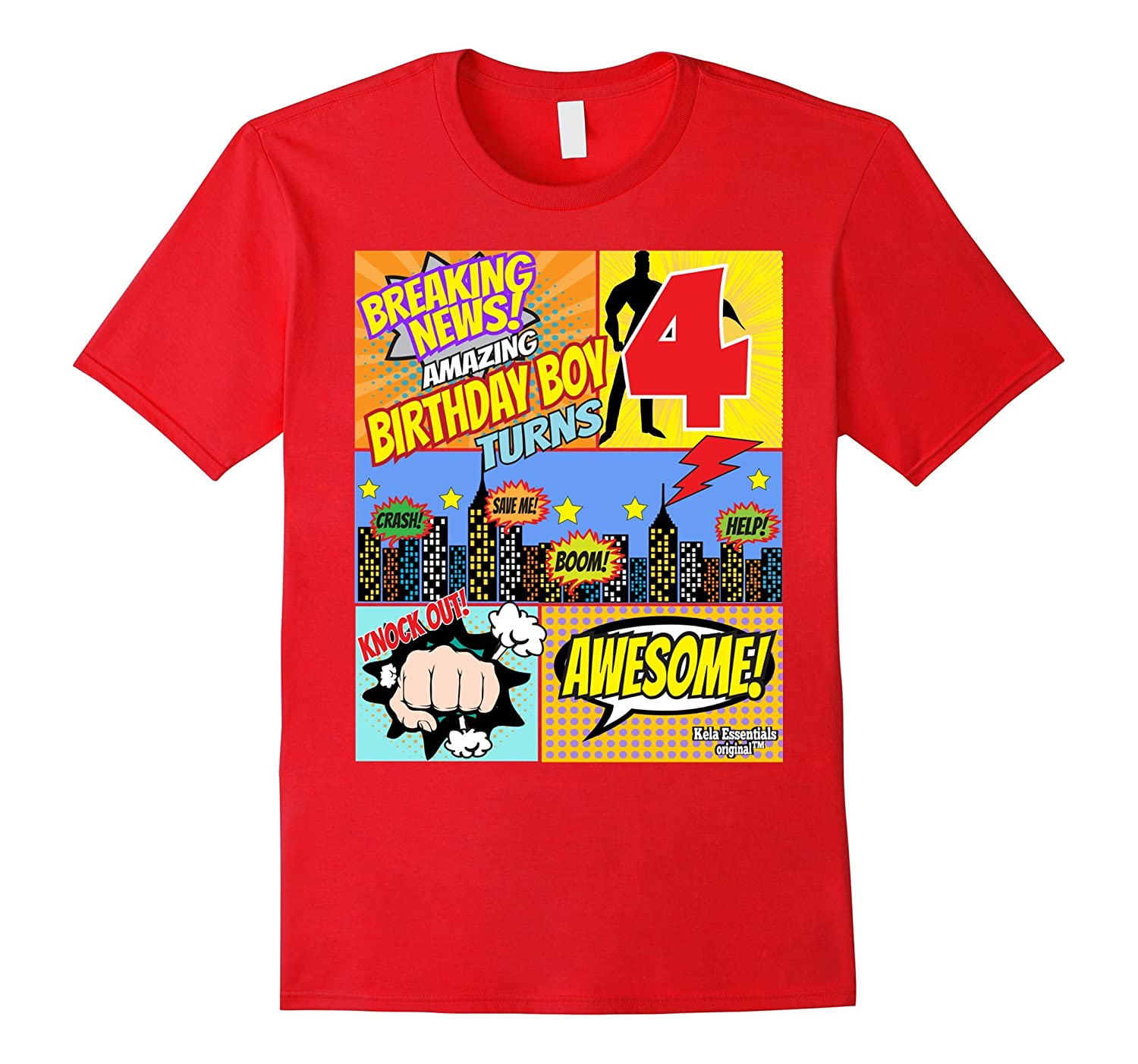 Superhero Birthday Shirt Boys 4 Amazing Awesome Super TD Teedep