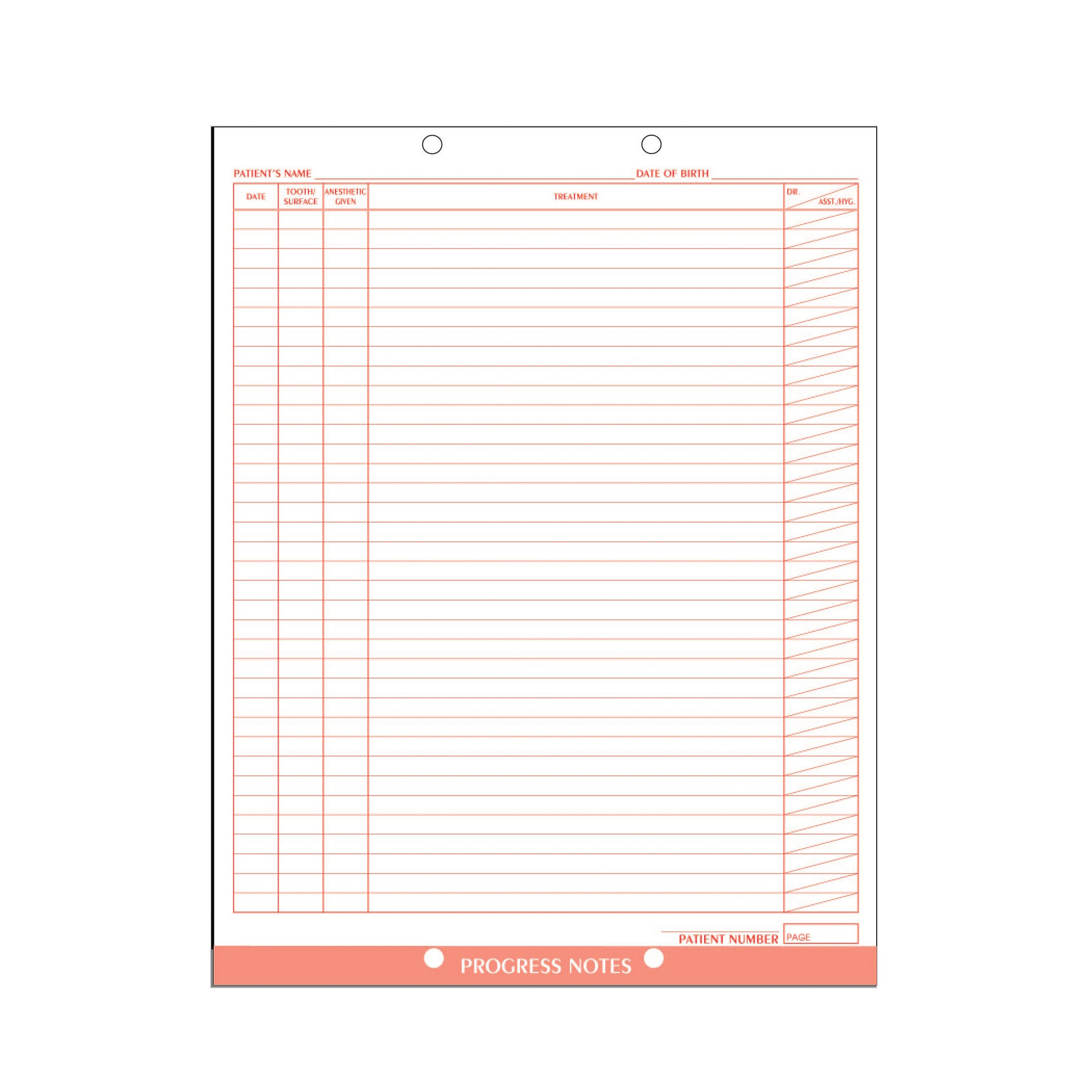 AMZfiling Dental Progress Notes Form (100/Package)