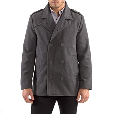 62da4dd2a8 alpine swiss Jake Mens Wool Pea Coat Double Breasted Jacket Gray SML