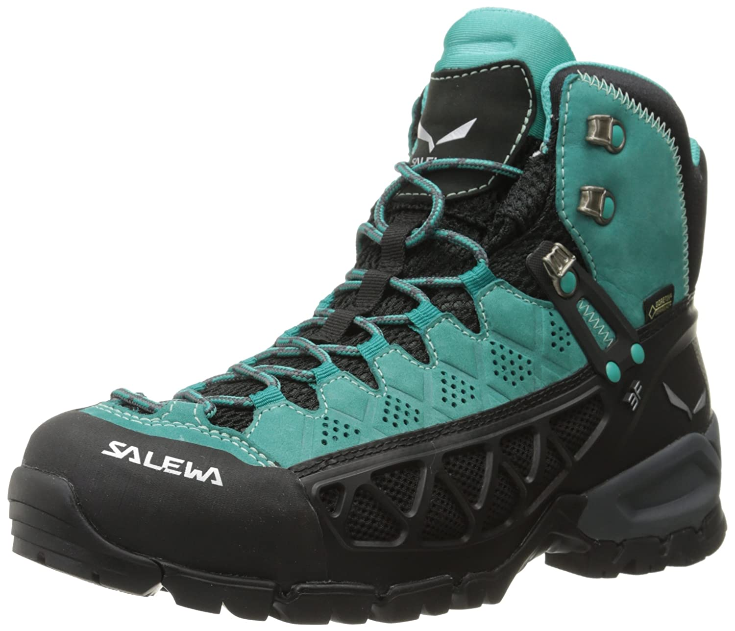 Salewa Women's WS ALP Flow Mid GTX Hiking Shoe B00N48MAD0 8 B(M) US|Venom/Bright Acqua