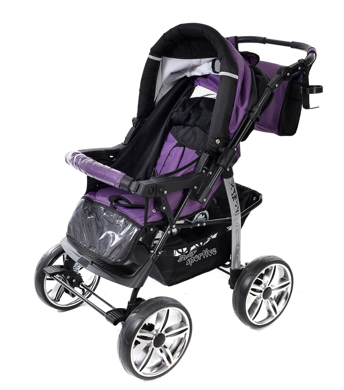 silla de paseo Sistema de viaje 3 en 1 Kamil RUEDAS EST/ÁTICAS y accesorios carrito con capazo y silla de coche Sistema de viaje 3 en 1, violeta, negro