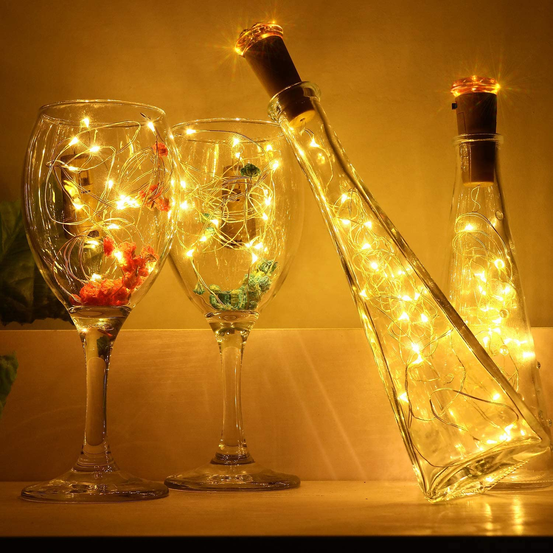 Luz de Botella con Corcho, 9 Pack Blanco Cálido Guirnalda Luces ...