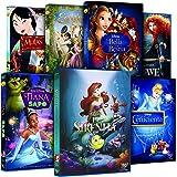 Pack Princesas Disney (La Sirenita + Enredados + Mulán + Tiana Y El Sapo + Bella Y Bestia + La Cenicienta + Brave)