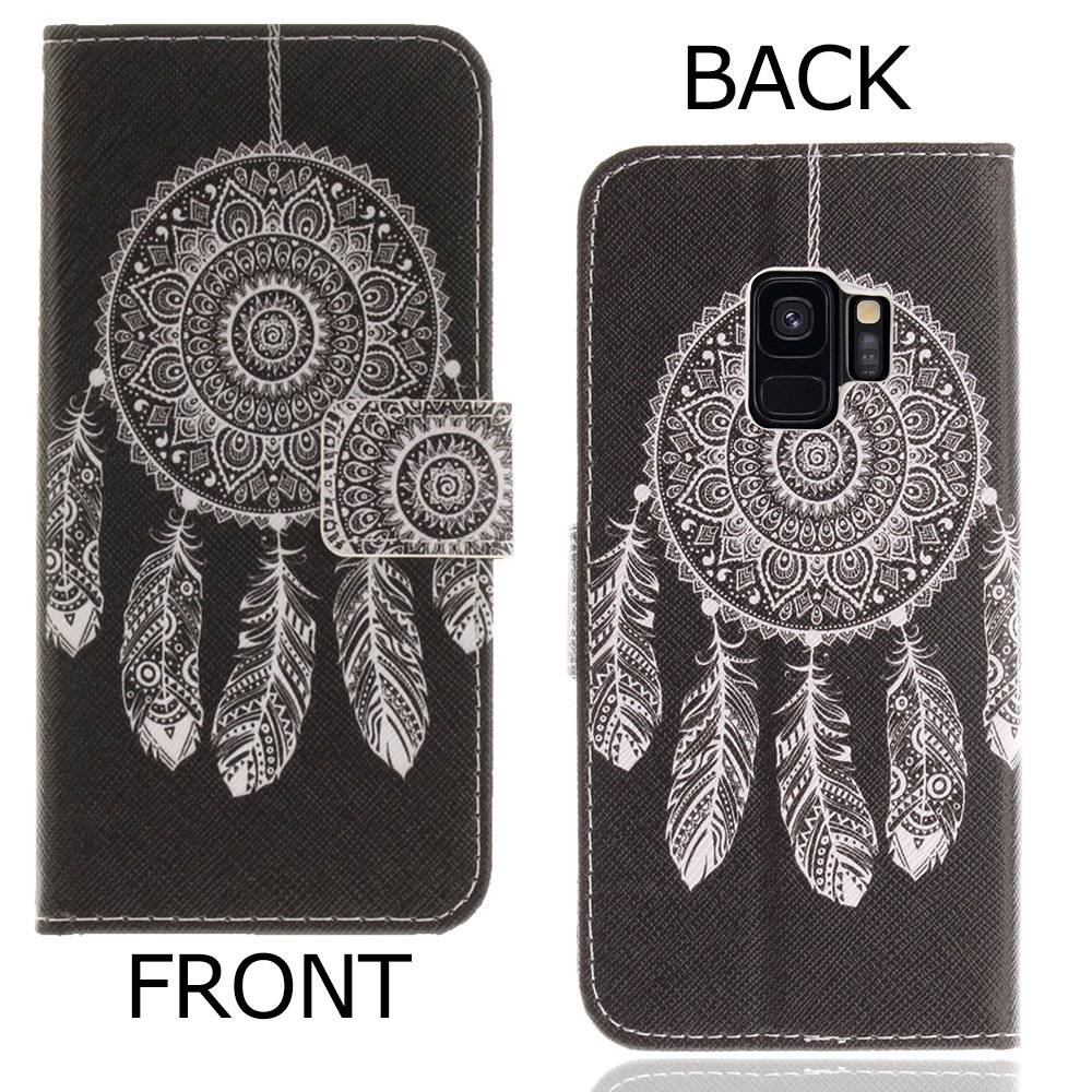 CLM-Tech Samsung Galaxy S9 Wallet Case Phone Synthetic Leather Cover big butterfly purple Flip Case for Samsung Galaxy S9