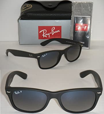ca7bedadc1 Image Unavailable. Image not available for. Color  RAY BAN NEW WAYFARER RB  2132 601S 78 MATTE BLACK FRAME  BLUE GRADIENT GREY