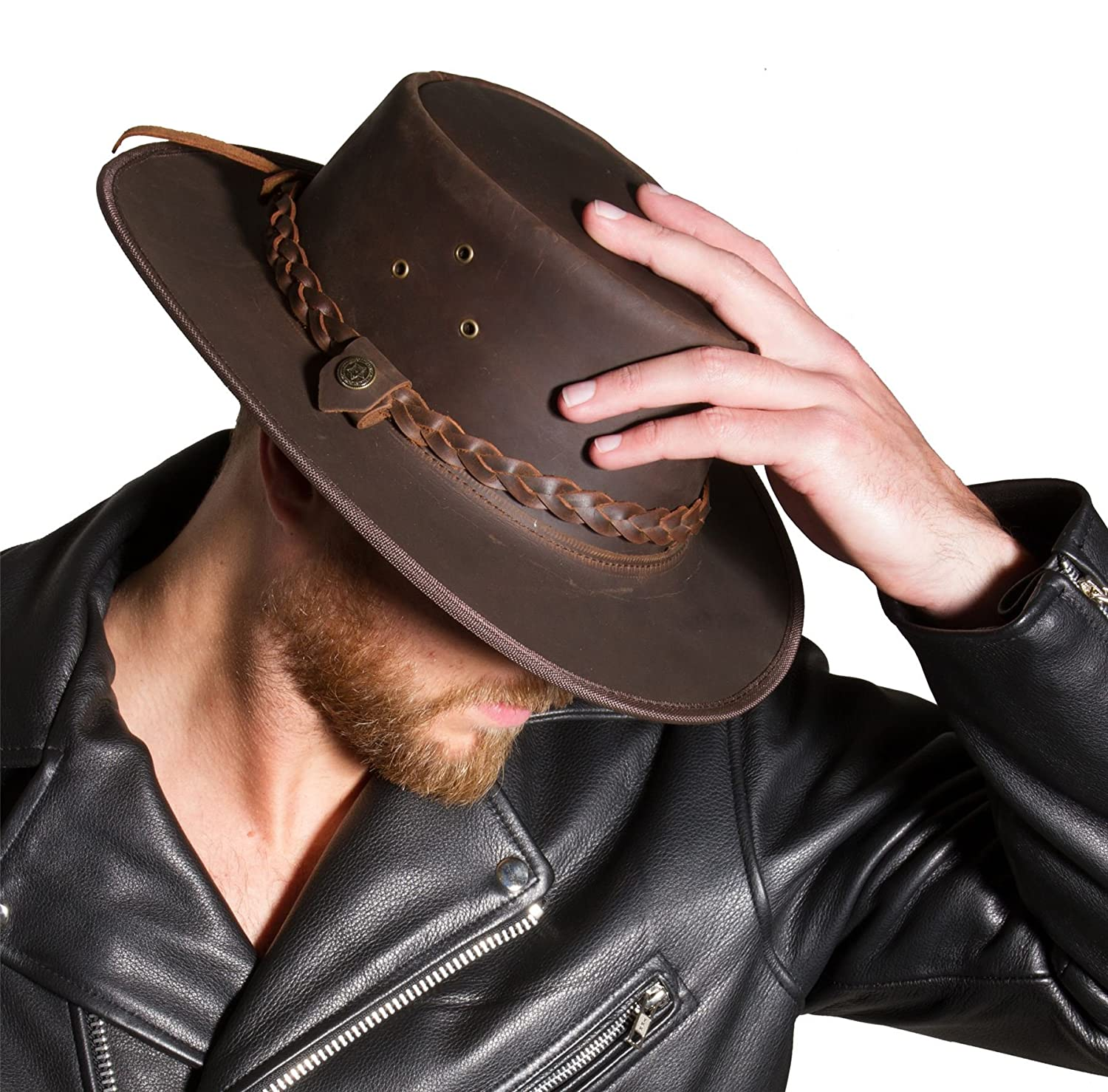 4487b8bbbce51 Genuine Full Leather Distressed Look Cowboy Hat for Men and Women   Amazon.co.uk  Clothing