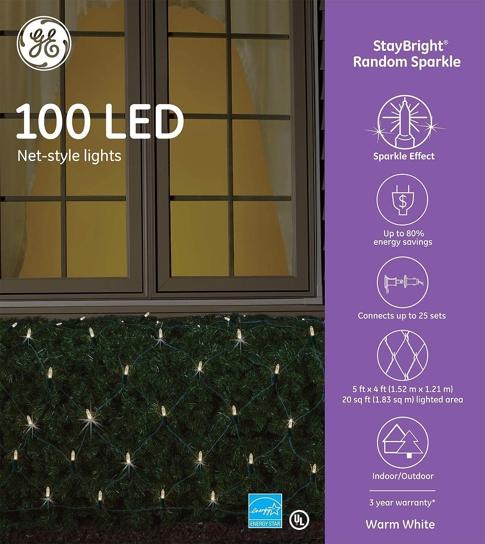 GE StayBright Random Sparkle 100 LED Net-Style Lights - Warm White