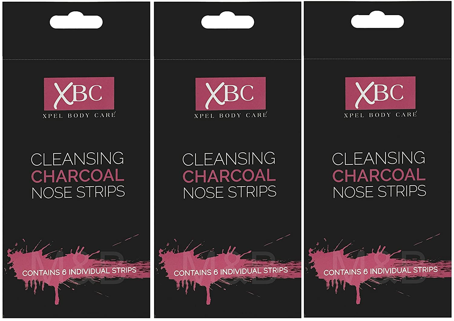 XBC Cleansing Charcoal Nose Strips (3 x 6 Pack) Xpel Blackhead Removal Patches