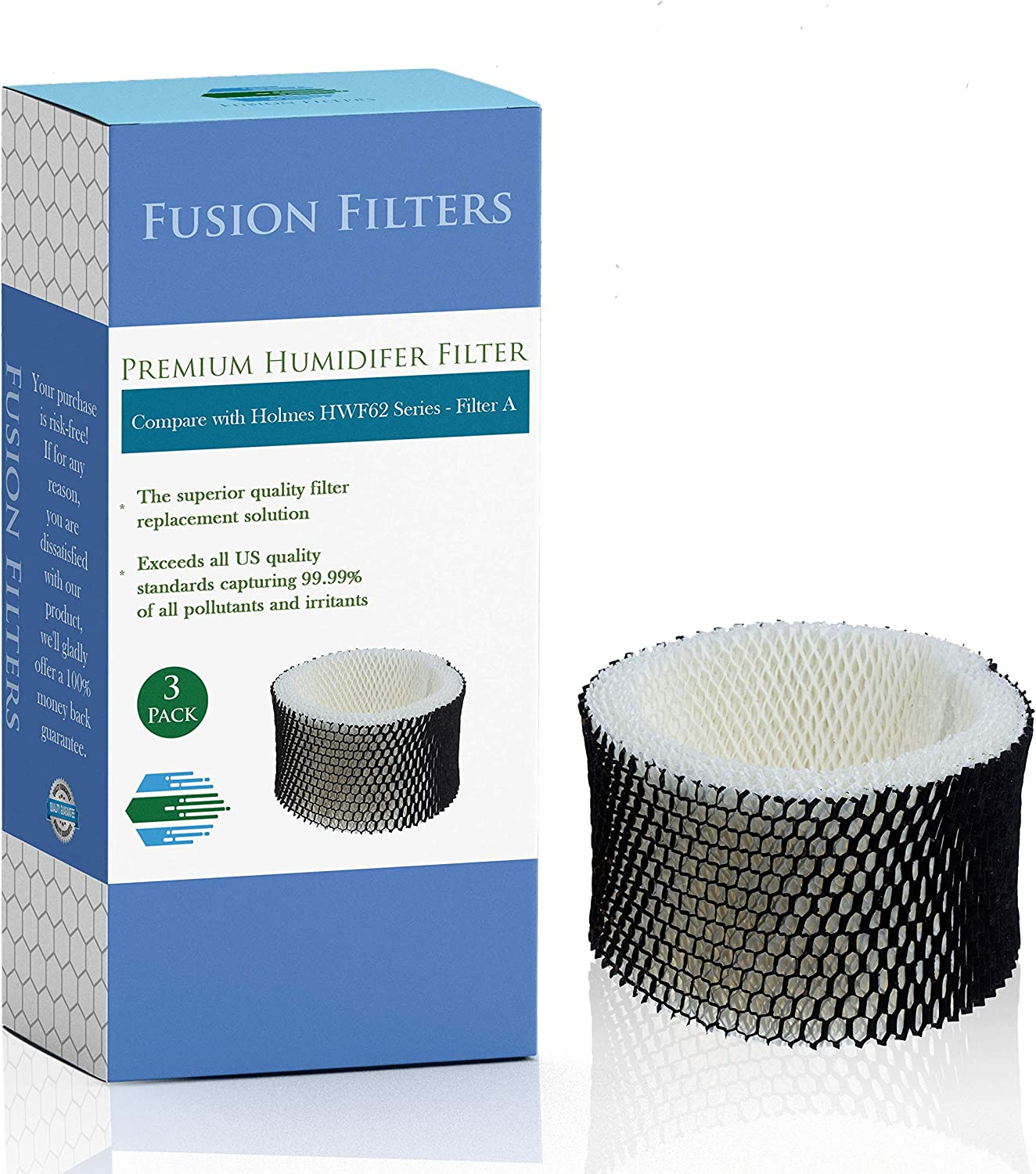 Fusion Filters - 3 Pack of Compatible Humidifier Filters - Replacement for Holmes HWF62 & HWF62CS Filter Series (Filter A) & Sunbeam HWF62 Filters