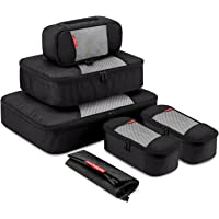 Gonex Packing Cubes Luggage Travel Organizers L+M+3XS+Shoe Bag Black