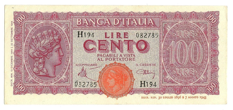 Cartamoneta  100 Lire Italia TURRITA Testina 10 12 1944 SUP