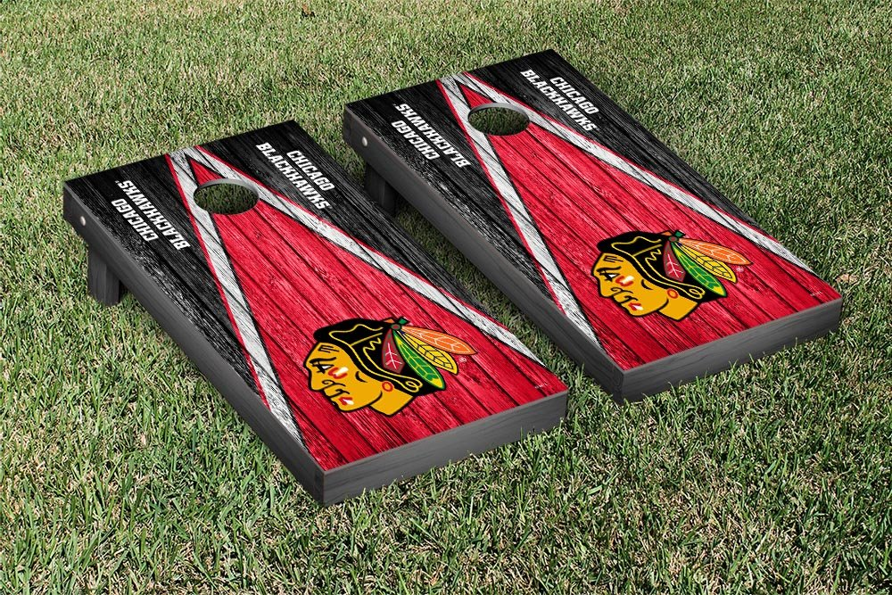 Chicago Blackhawks NHL Regulation Cornhole Game Set Weathered Triangle Version