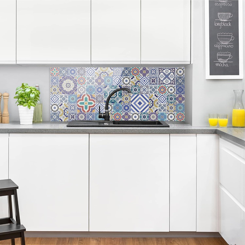 Bilderwelten Spritzschutz Glas Portugiesische Fliesen Panorama Quer 50cm X 125cm Amazon De Kuche Haushalt