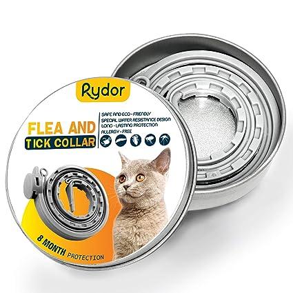 RYDOR Flea Tick Collar Cats - 8 Months Flea Tick Treatment Cats - Allergy  Free Natural Essential Oils Flea Protection Collar - Safe Tick Repellent