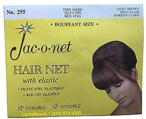 Jac-O-Net Tiny Mesh Hair Net--Bouffant/Large Size, Light Brown,1 Net Per Pack [Pack of 12]