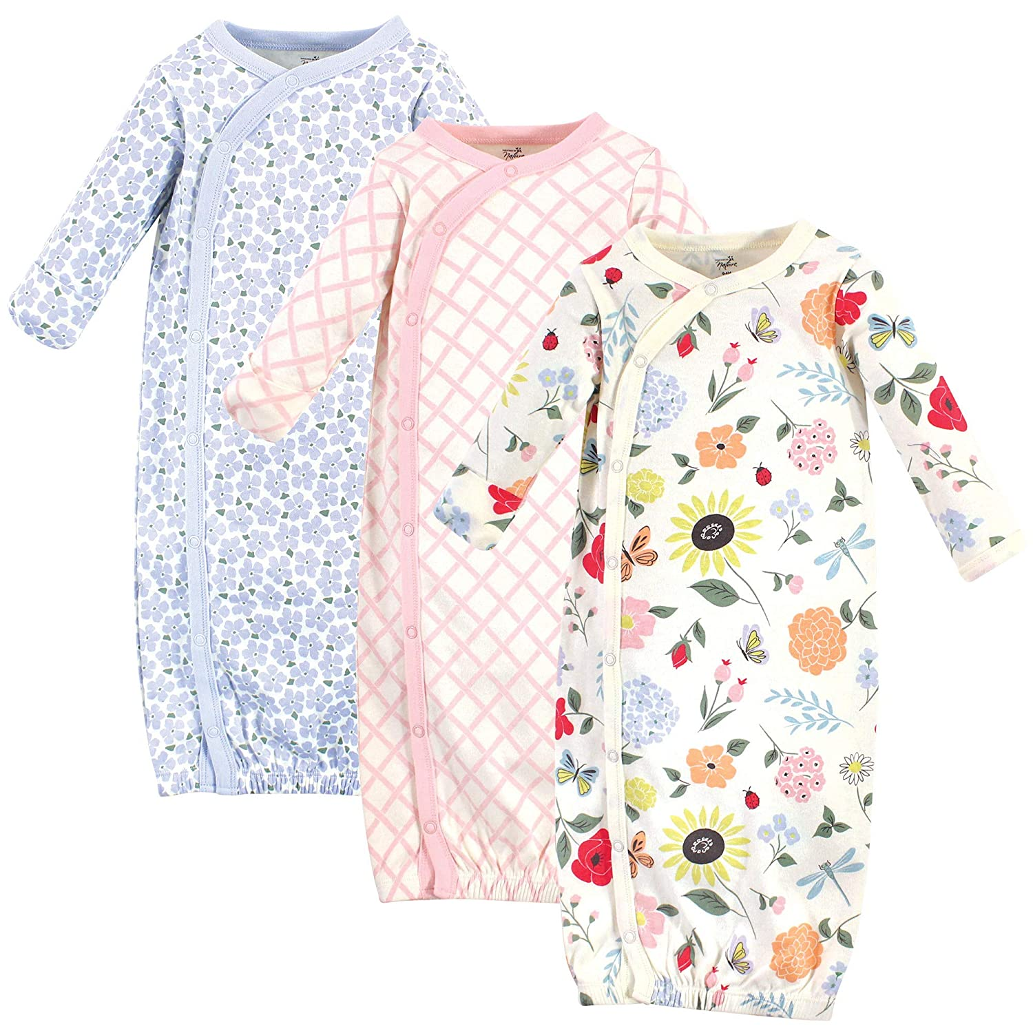 Flutter Garden Touched by Nature Baby Organic Cotton Kimono Gowns 3pk