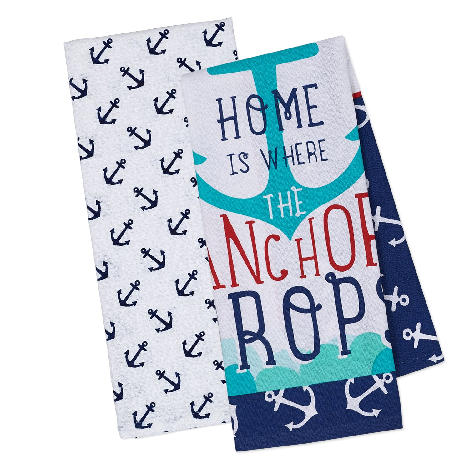 """DII Cotton Summer Printed Dish Towels, 18x28"""" Set of 2, Decorative Oversized Kitchen Towels, Perfect for Every Day Home Kitchen, Holidays and Housewarming Gifts-Anchors"""