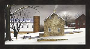 A Cold Winter's Night by Billy Jacobs 22x40 Farm Barn Silo Snow Winter Primitive Folk Art Country Print Wall Décor Framed Picture
