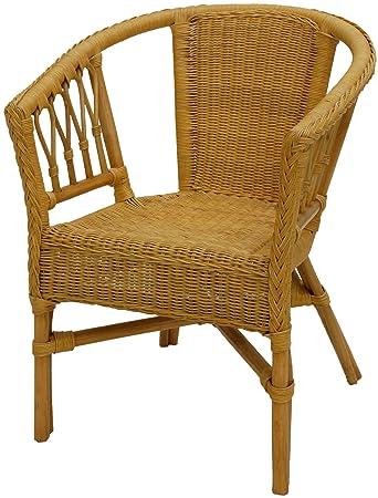 korb outlet rattan armchair rattan chair honey coloured amazon co