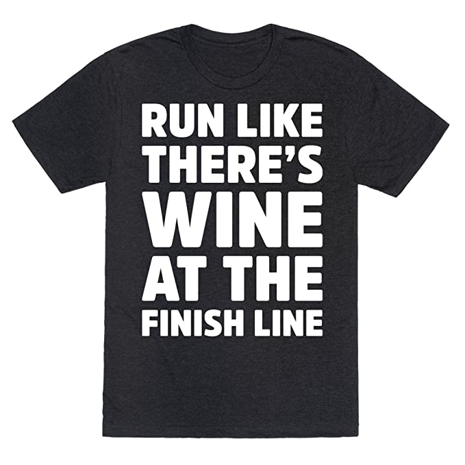 71a359ff LookHUMAN Run Like There's Wine at The Finish line Heathered Black 2X  Mens/Unisex Fitted